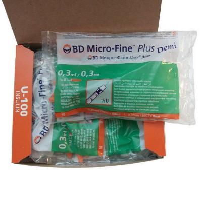 Шприц для инсулина BD Micro Fine Plus Demi 0,30 мл